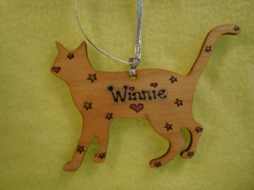 Cat Kitten Personalised Wooden Shaped Christmas Tree Hanger Decoration Memorial
